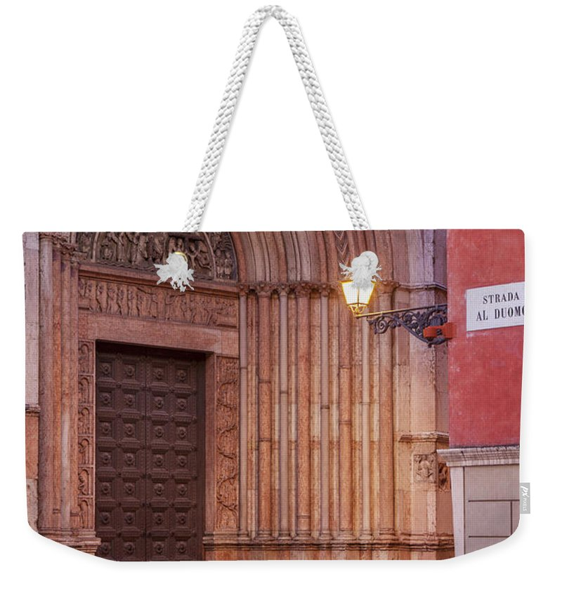 Duomo Weekender Tote Bag featuring the photograph Parma Baptistery Doorway by Brian Jannsen