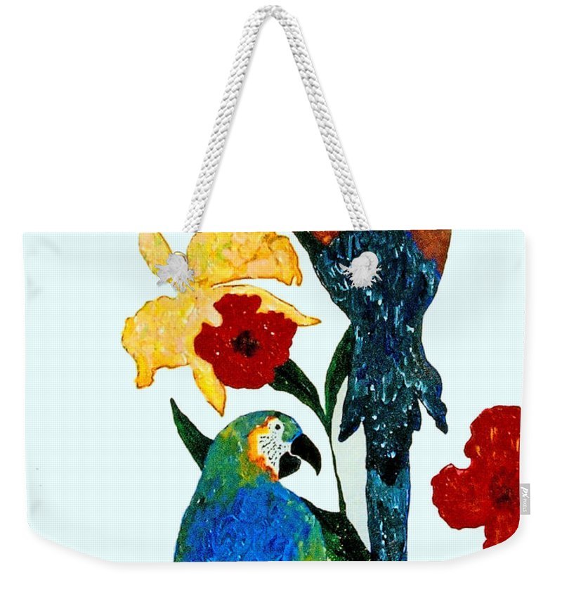 Parrots Weekender Tote Bag featuring the painting Parrots by Andrew Petras