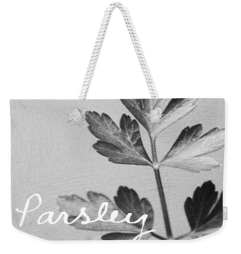 Parsley Weekender Tote Bag featuring the mixed media Parsley by Linda Woods