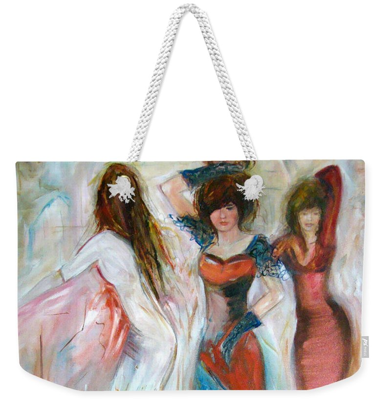 Contemporary Art Weekender Tote Bag featuring the painting Party Time by Silvana Abel