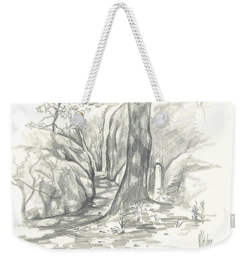 Passageway At Elephant Rocks Weekender Tote Bag featuring the drawing Passageway At Elephant Rocks by Kip DeVore
