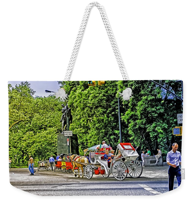 Sign Weekender Tote Bag featuring the photograph Passenger Cars Only - Central Park by Madeline Ellis