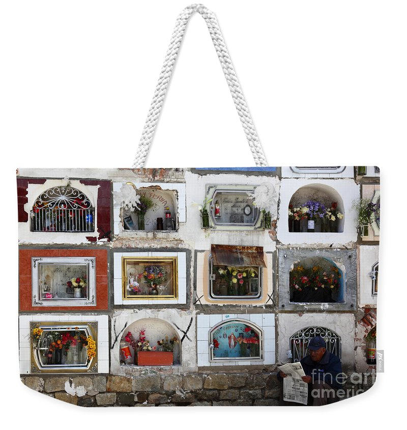 Cemetery Weekender Tote Bag featuring the photograph Passing The Time..... by James Brunker