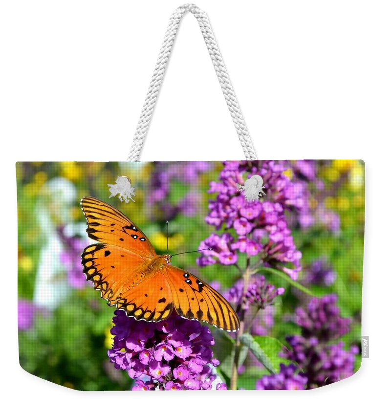 Butterfly Weekender Tote Bag featuring the photograph Passion Butterfly by Deena Stoddard