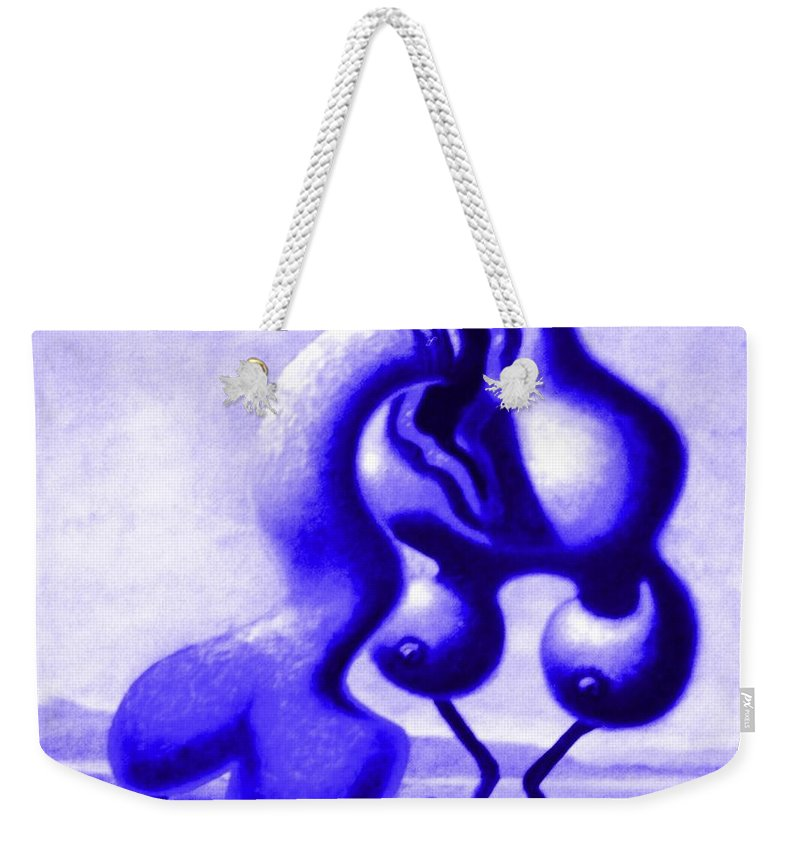 Genio Weekender Tote Bag featuring the mixed media Passion In Blue by Genio GgXpress
