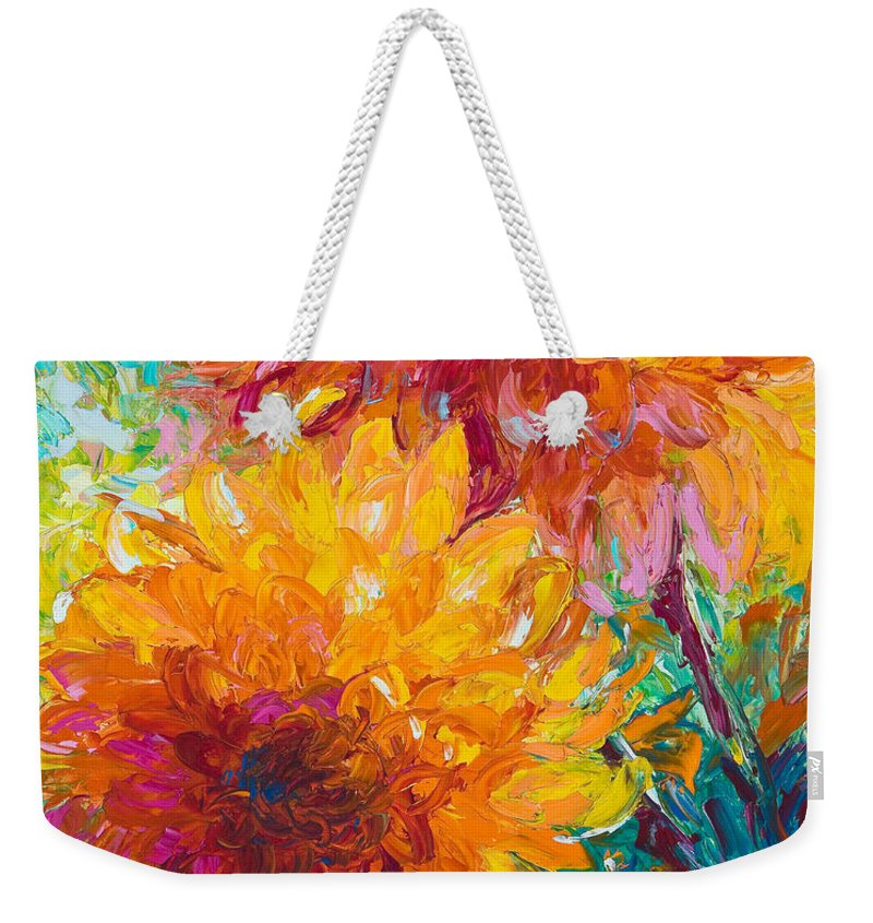 Dahlia Weekender Tote Bag featuring the painting Passion by Talya Johnson