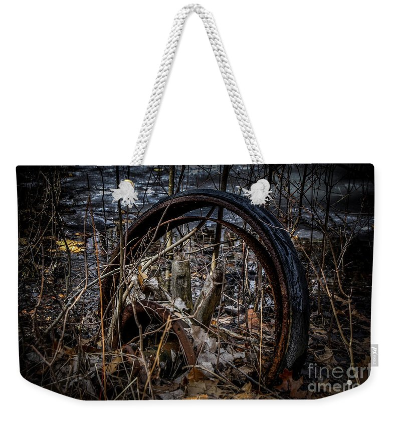 Wheel Weekender Tote Bag featuring the photograph Past Its Use by Ronald Grogan
