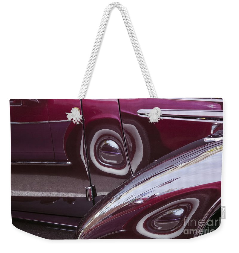 Palouse Washington Car Show Cars Shows Abstract Reflection Reflections Tire Tires Wheel Wheels Fender Fenders Weekender Tote Bag featuring the photograph Past Reflections by Bob Phillips