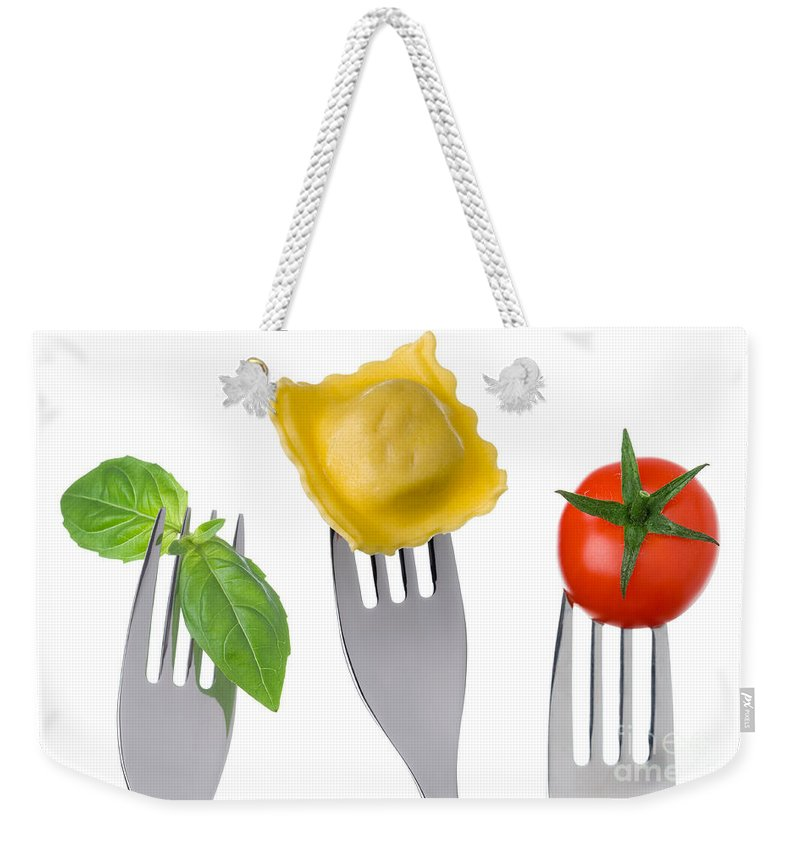 Pasta Weekender Tote Bag featuring the photograph Pasta Tomato And Basil by Lee Avison
