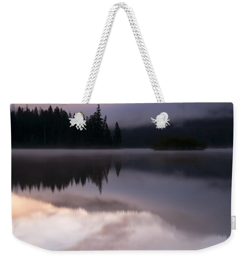 Clear Lake Weekender Tote Bag featuring the photograph Pastel Morning Mist by Mike Dawson