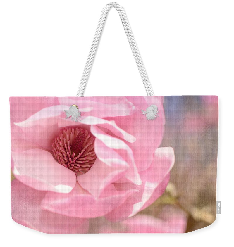 Lisa Knechtel Weekender Tote Bag featuring the photograph Pastel Pink Petals And Paint by Lisa Knechtel