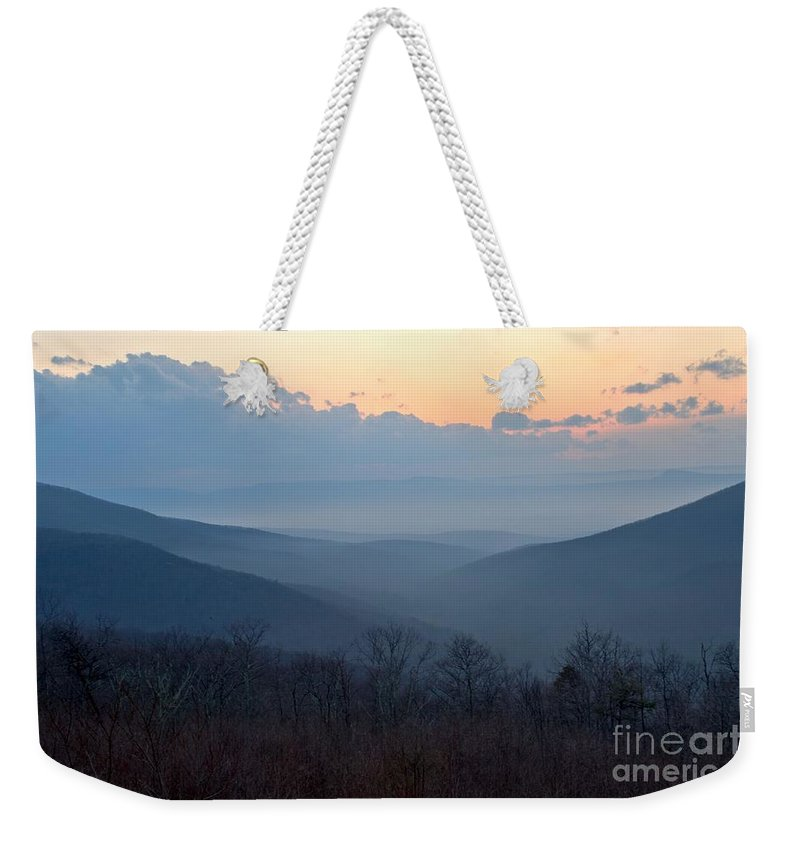 Shenandoah National Park Weekender Tote Bag featuring the photograph Pastel Sunset by Adam Jewell