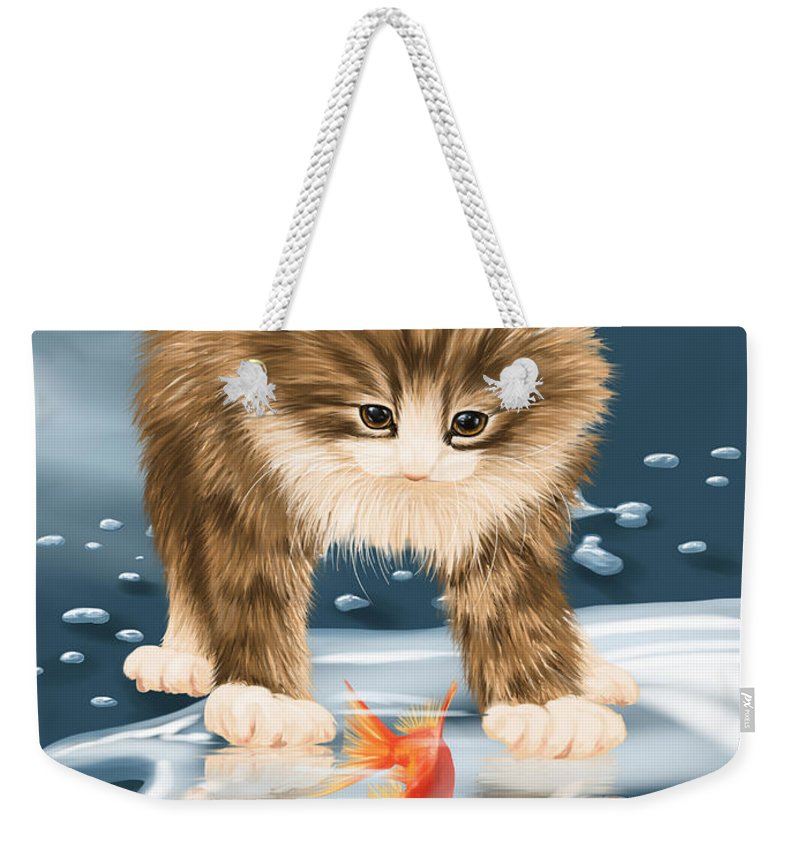 Animal Weekender Tote Bag featuring the painting Pastime by Veronica Minozzi