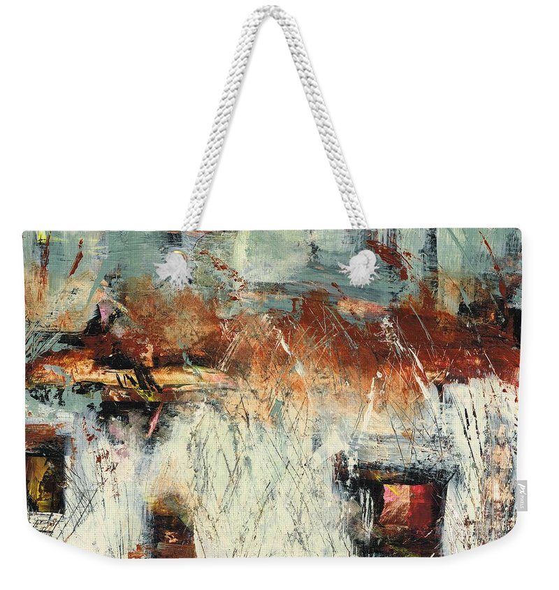 Abstract Landscapes Weekender Tote Bag featuring the painting Pasture Grasses by Frances Marino