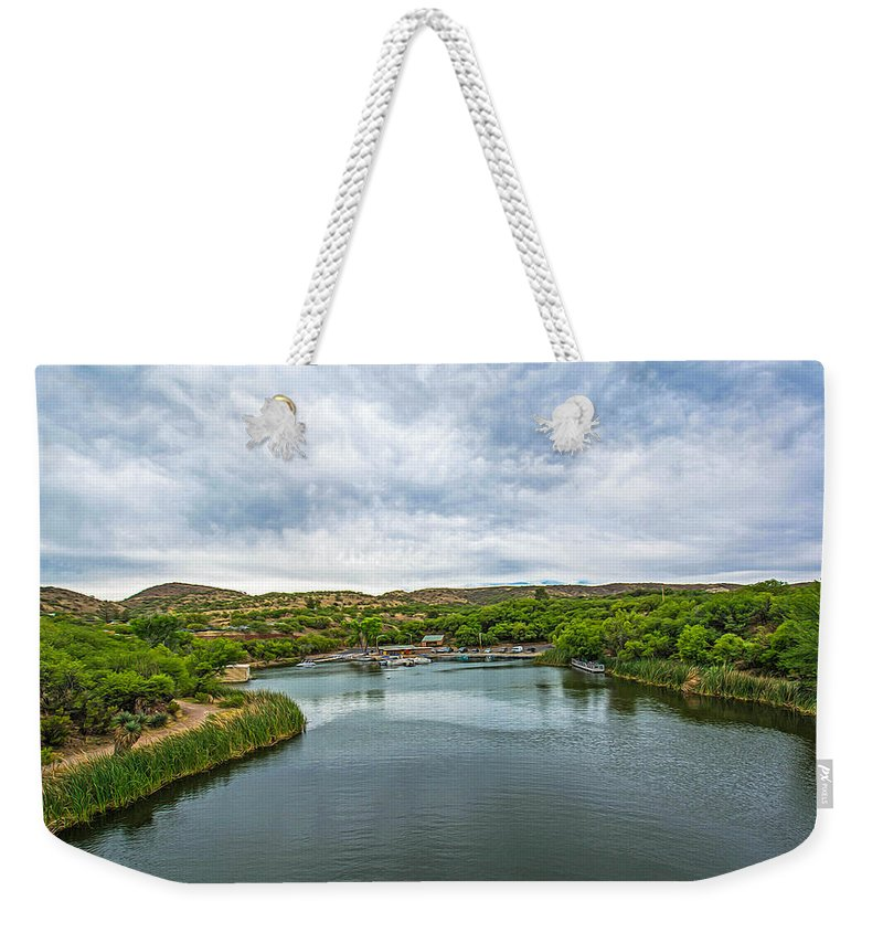 Patagonia Weekender Tote Bag featuring the photograph Patagonia Lake State Park by Michael Moriarty