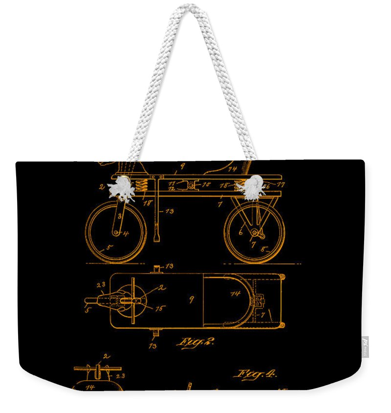 Hobby Horse Weekender Tote Bag featuring the digital art Patent Art 1920 Herzog Hobby Horse Gold by Lesa Fine