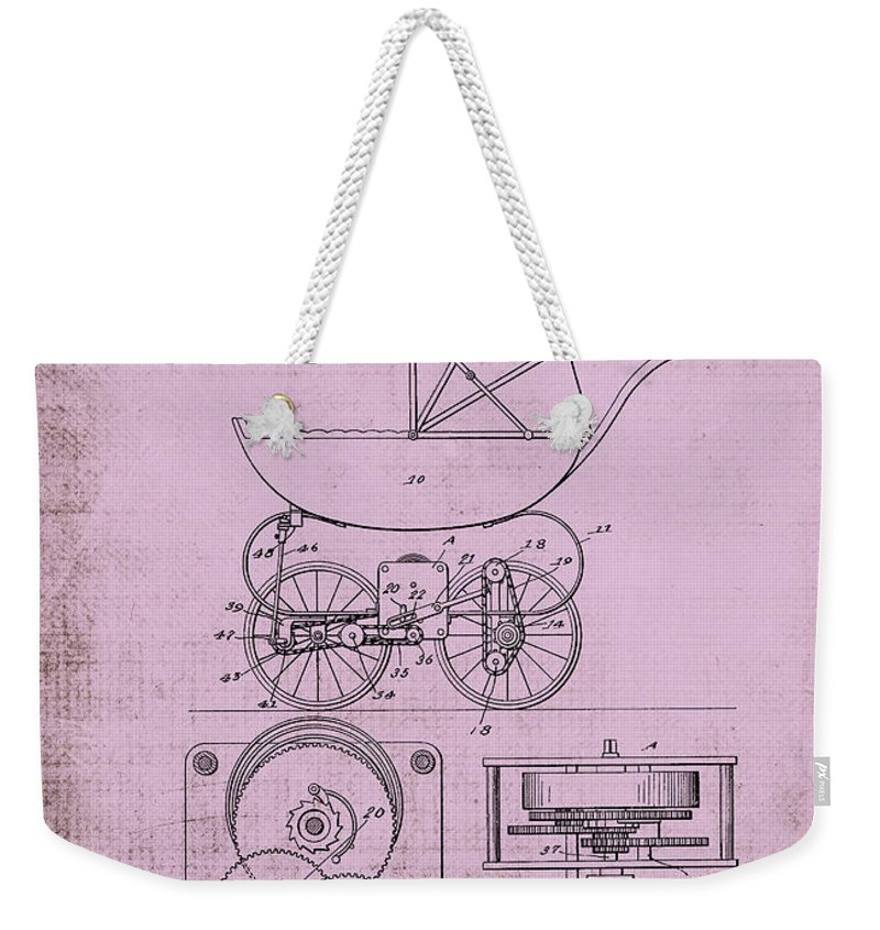 1920 Weekender Tote Bag featuring the digital art Patent Art Baby Carriage 1920 Lark Invite IIi by Lesa Fine