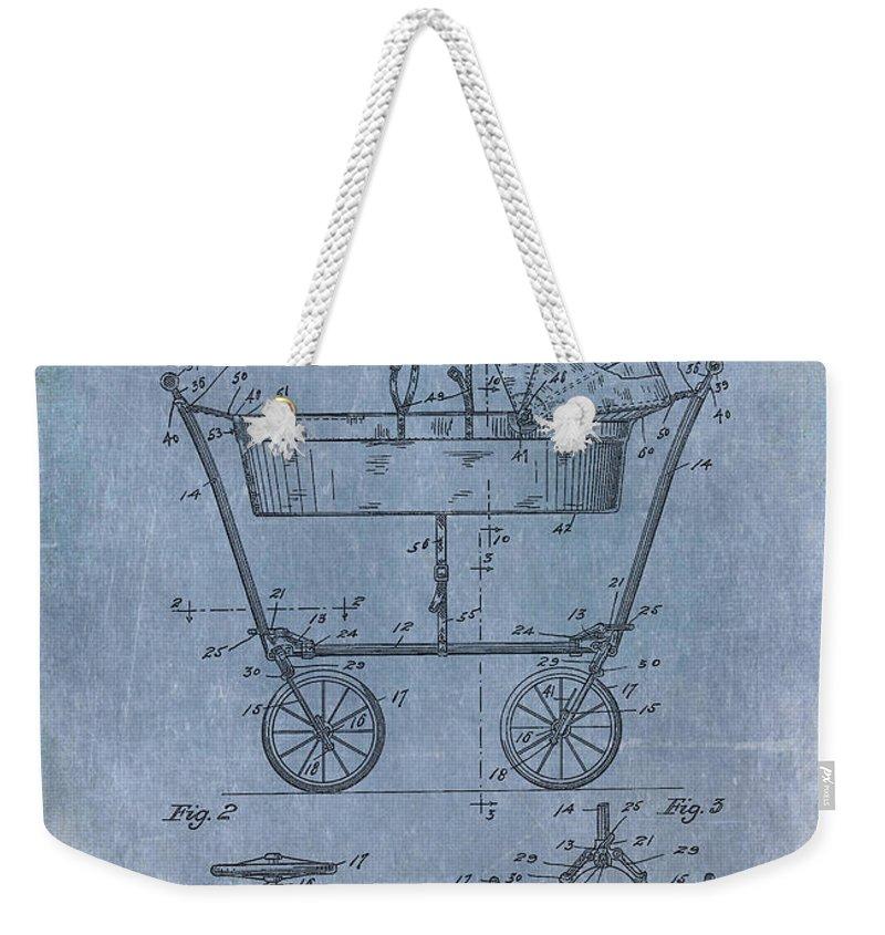 1922 Weekender Tote Bag featuring the digital art Patent Art Baby Carriage 1922 Mahr Denim by Lesa Fine