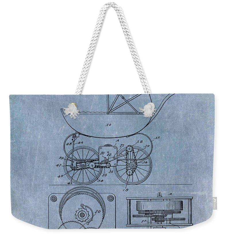 1920 Weekender Tote Bag featuring the digital art Patent Art Baby Carriage Lark II Invite by Lesa Fine