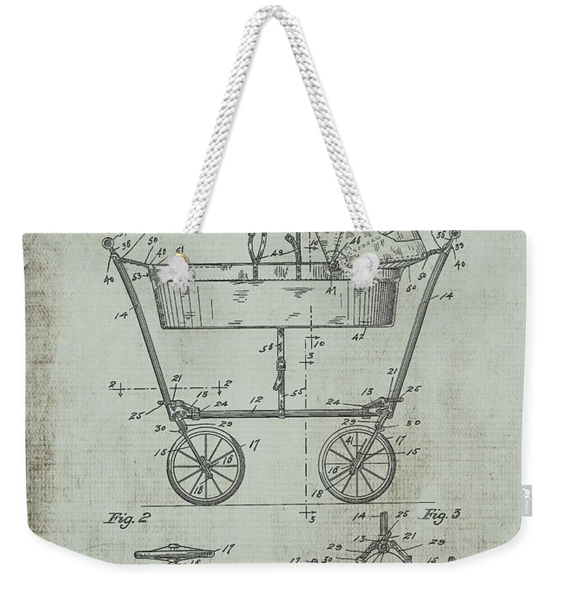 1922 Weekender Tote Bag featuring the digital art Patent Art Mahr Baby Carriage 1922 Green by Lesa Fine