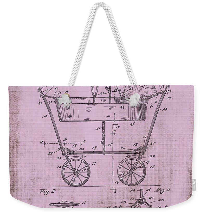 Baby Carriage Weekender Tote Bag featuring the digital art Patent Art Mahr Baby Carriage 1922 Pink by Lesa Fine
