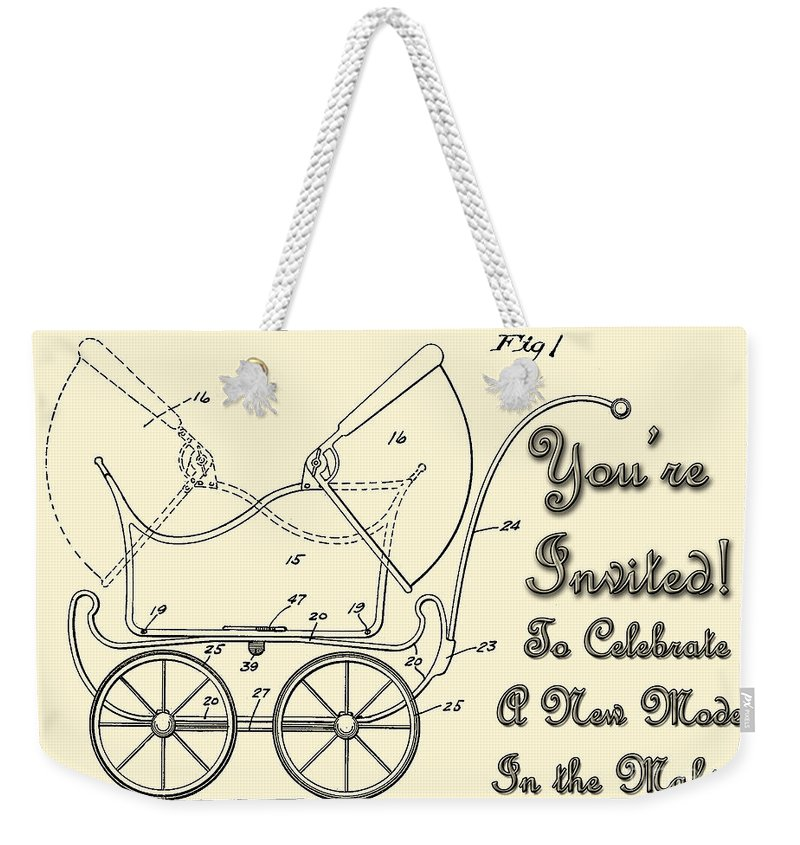 1923 Weekender Tote Bag featuring the digital art Patent Art Robinson Baby Carriage Invite Yellow by Lesa Fine