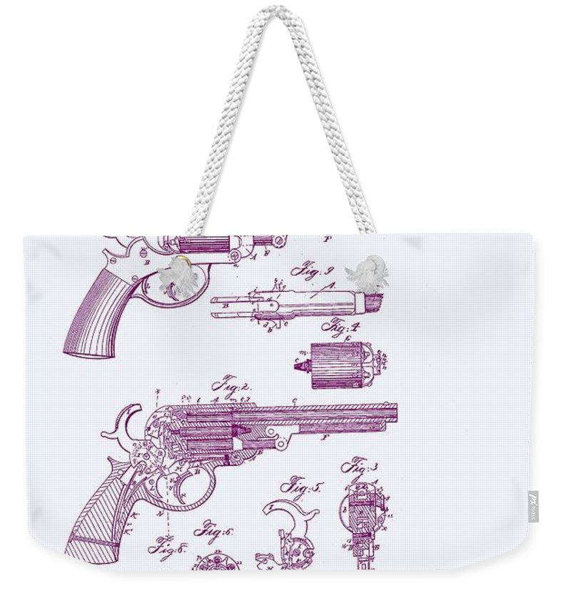 Revolver Weekender Tote Bag featuring the digital art Patented Revolver In Purple by Georgia Fowler