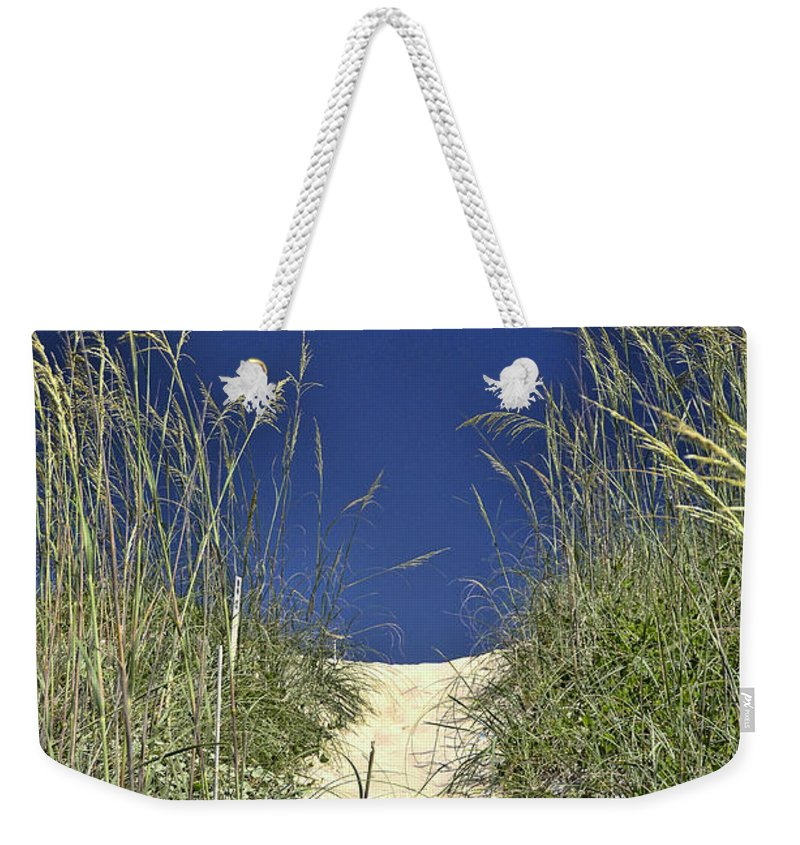Path Through The Dunes Weekender Tote Bag featuring the photograph Path Through The Dunes by Allen Beatty
