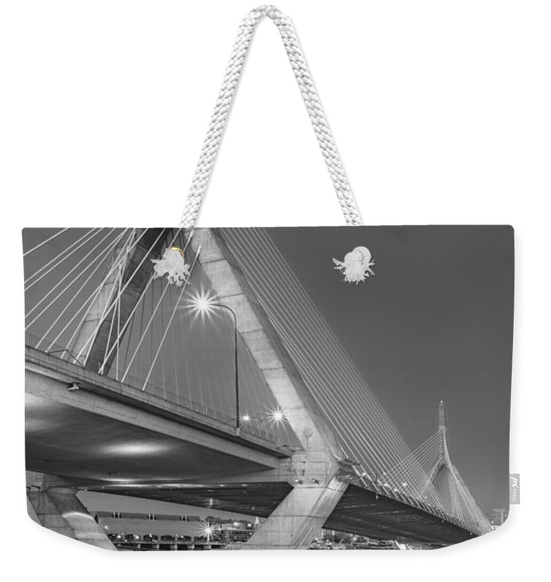 Boston Weekender Tote Bag featuring the photograph Path To The Leonard P. Zakim Bridge Bw by Susan Candelario