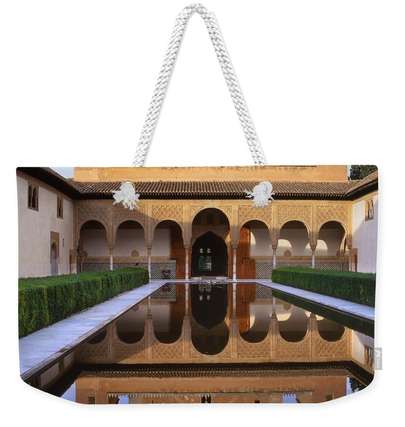 The Alhambra Weekender Tote Bag featuring the photograph Patio De Los Arrayanes La Alhambra by Guido Montanes Castillo