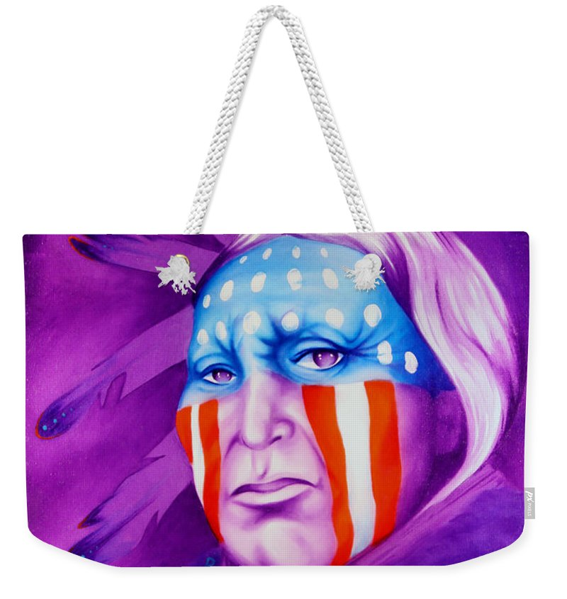 Native American Art Weekender Tote Bag featuring the painting Patriot by Robert Martinez