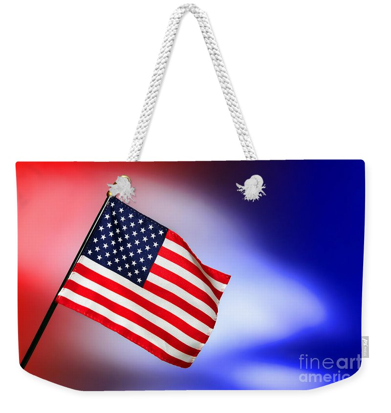 Flag Weekender Tote Bag featuring the photograph Patriotic American Flag by Olivier Le Queinec