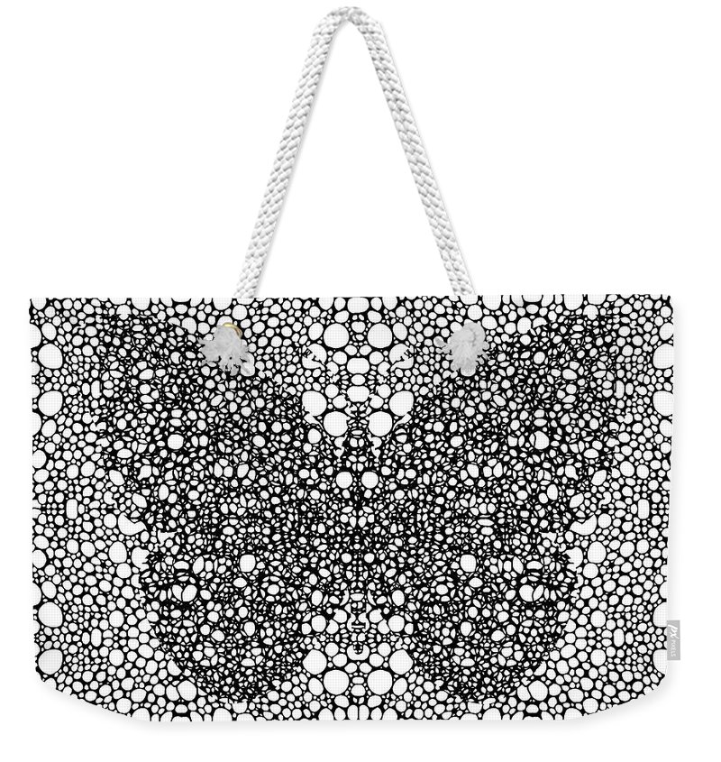 Sharon Cummings Weekender Tote Bag featuring the painting Pattern 35 - Intricate Exquisite Butterfly Pattern Art Prints by Sharon Cummings