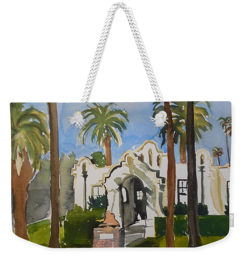 Patterson Historical Society Building Weekender Tote Bag featuring the painting Patterson Historical Society by Charlotte Williams