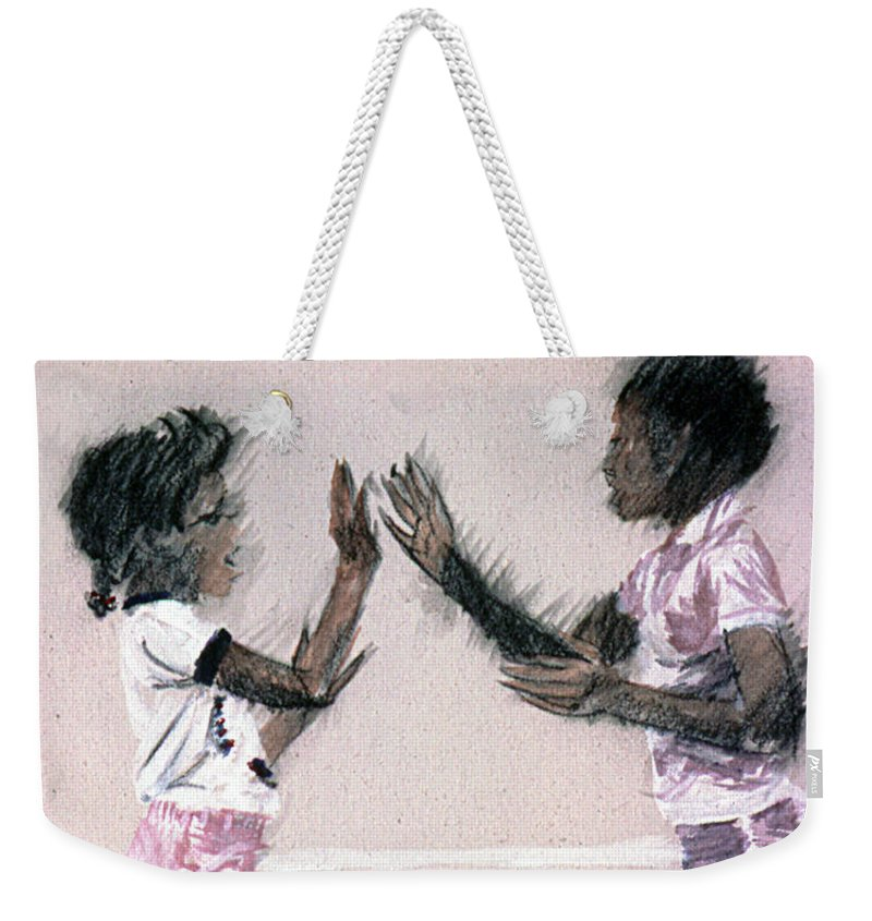 Girls Weekender Tote Bag featuring the painting Patti Kake by Charles M Williams