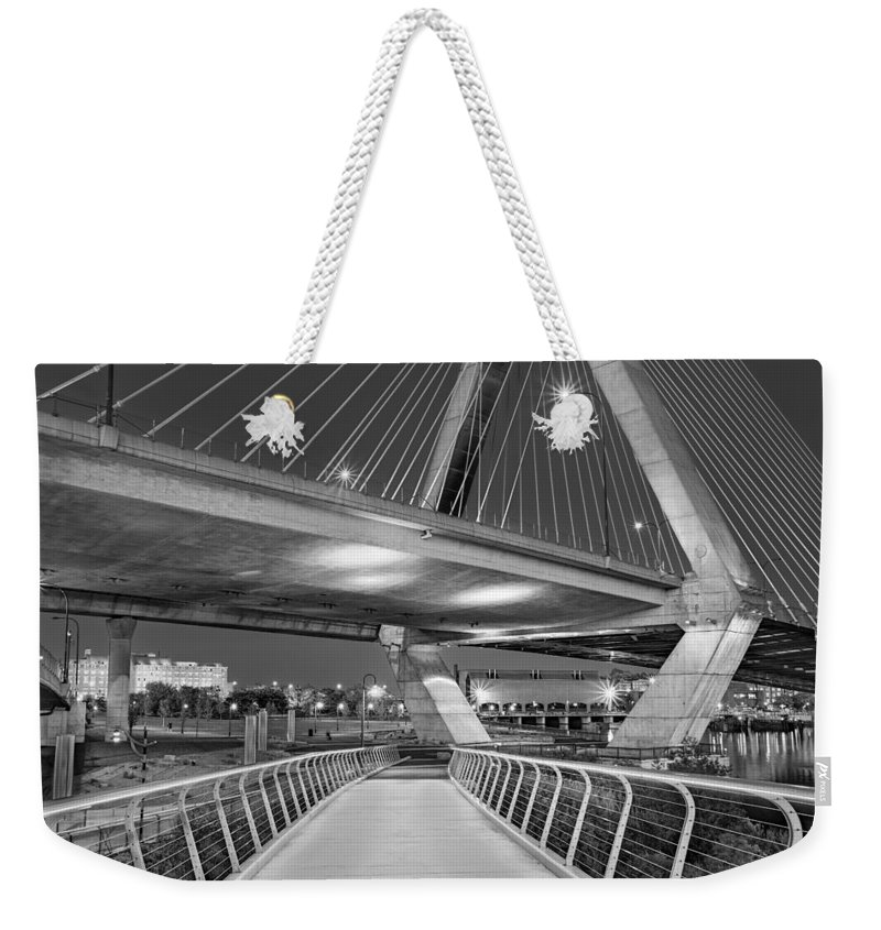 Boston Weekender Tote Bag featuring the photograph Paul Revere Park And The Zakim Bridge Bw by Susan Candelario