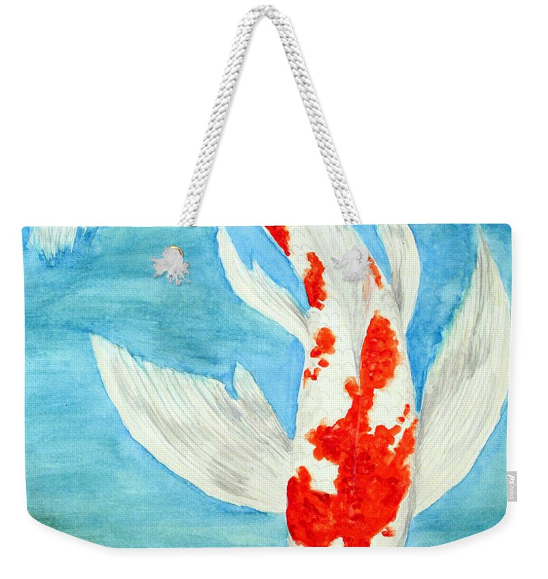 Koi Weekender Tote Bag featuring the painting Paul's Koi by Marna Edwards Flavell
