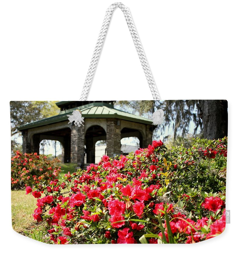 Flowers Weekender Tote Bag featuring the photograph Pavilion And Azaleas by Debra Forand
