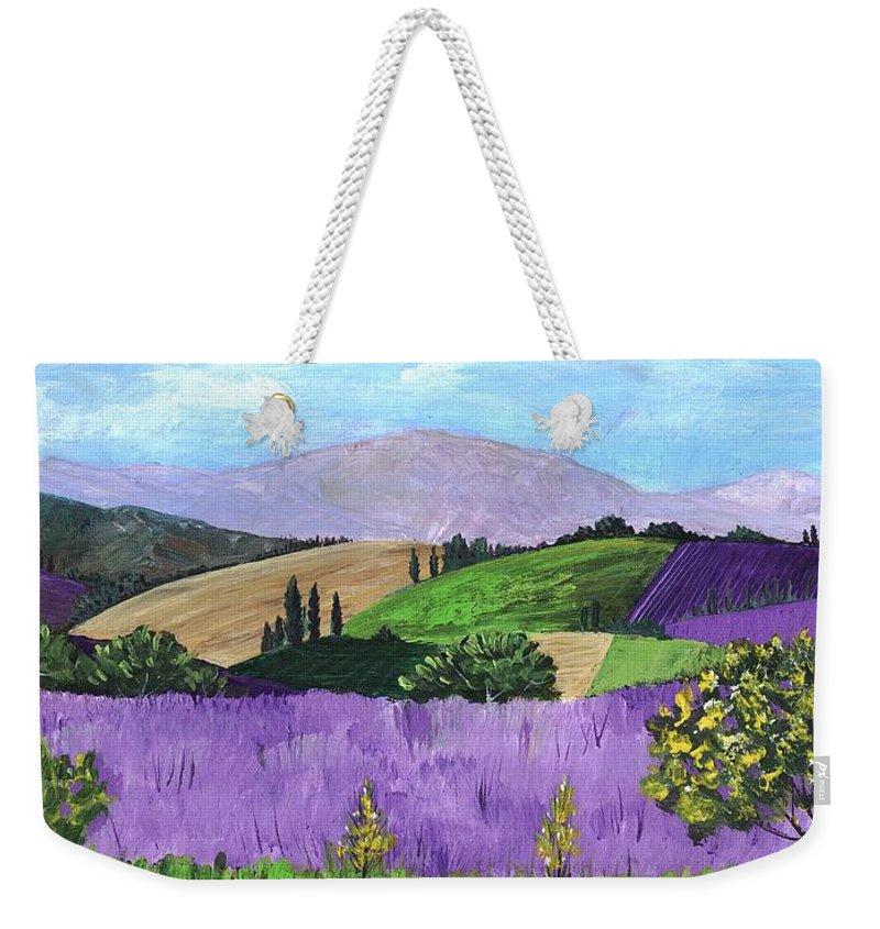 Malakhova Weekender Tote Bag featuring the painting Pays De Sault by Anastasiya Malakhova