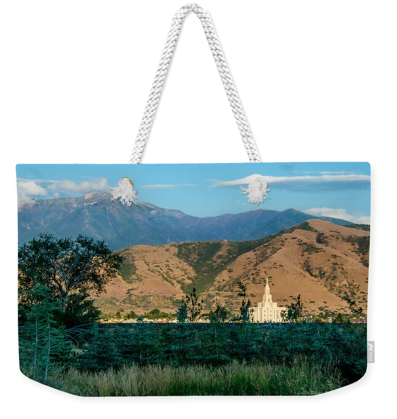 Lds Temples Weekender Tote Bag featuring the photograph Payson Temple Mountains by La Rae Roberts