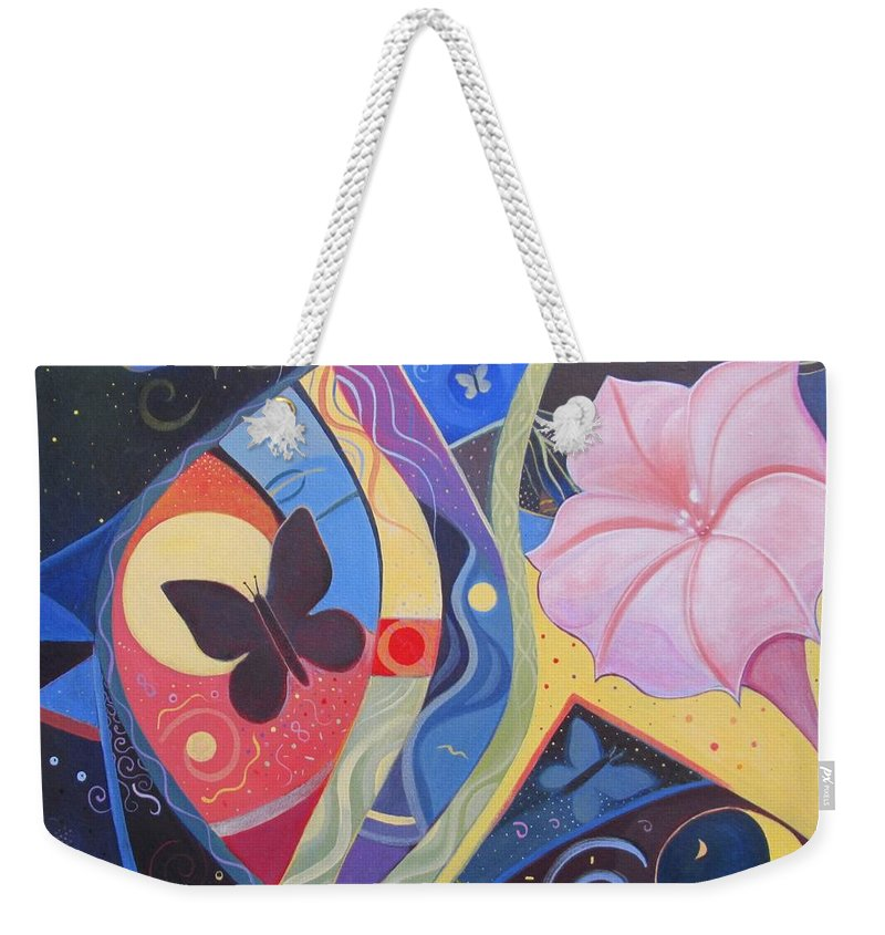 Peace Weekender Tote Bag featuring the painting Peace And Flow by Helena Tiainen