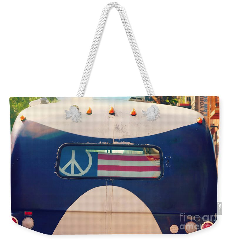 Peace. American Weekender Tote Bag featuring the photograph Peace Bus by Beth Ferris Sale
