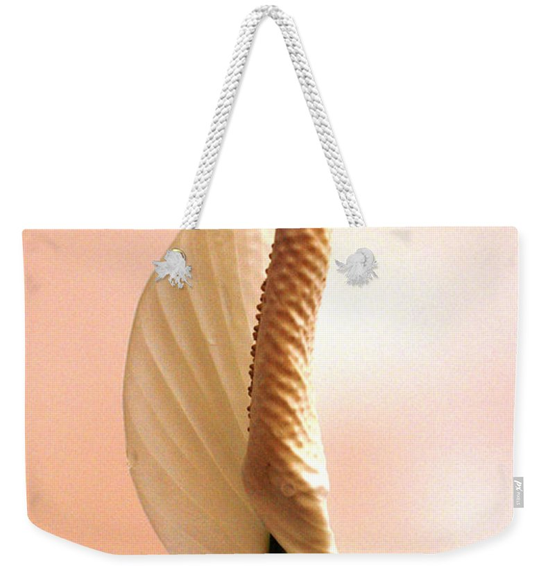 Peace Lily Weekender Tote Bag featuring the photograph Peace Lily Awakening by Cricket Hackmann
