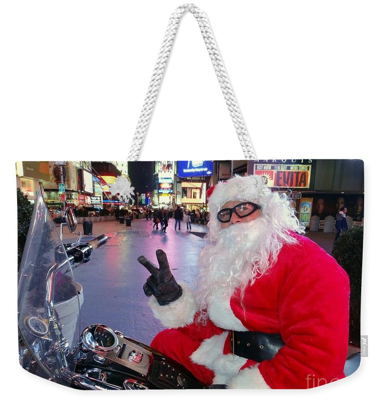 Times Square Weekender Tote Bag featuring the photograph Peace Santa by Ed Weidman