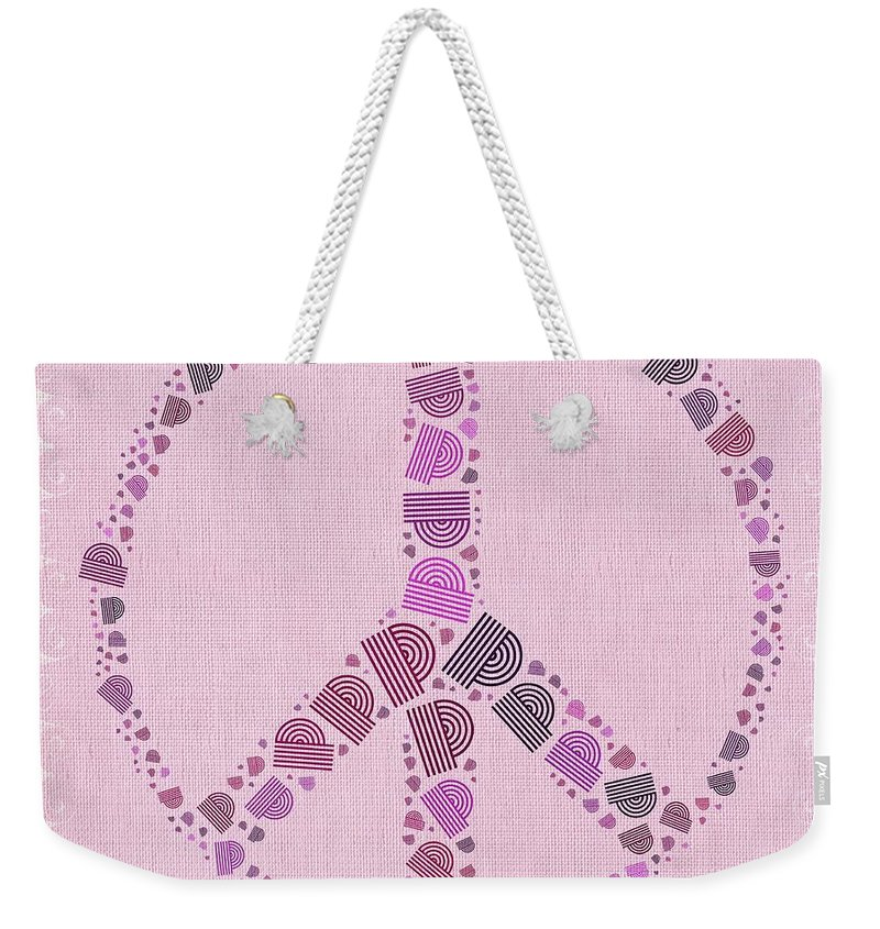 Mauve Weekender Tote Bag featuring the digital art Peace Symbol Design - 42ct2b by Variance Collections