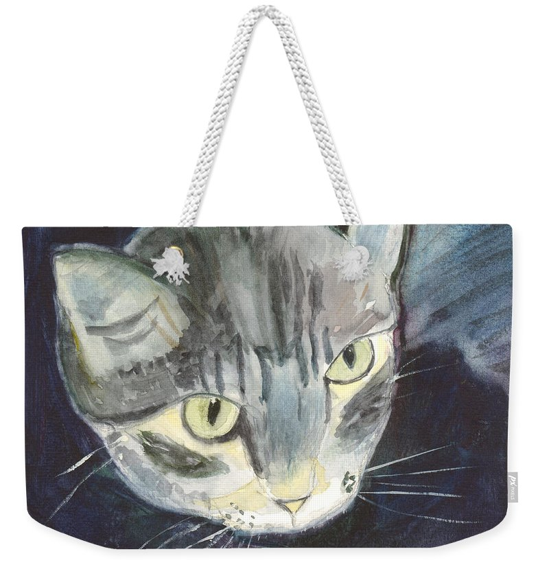 Kitten Weekender Tote Bag featuring the painting Peace The Cat by Mickey Krause