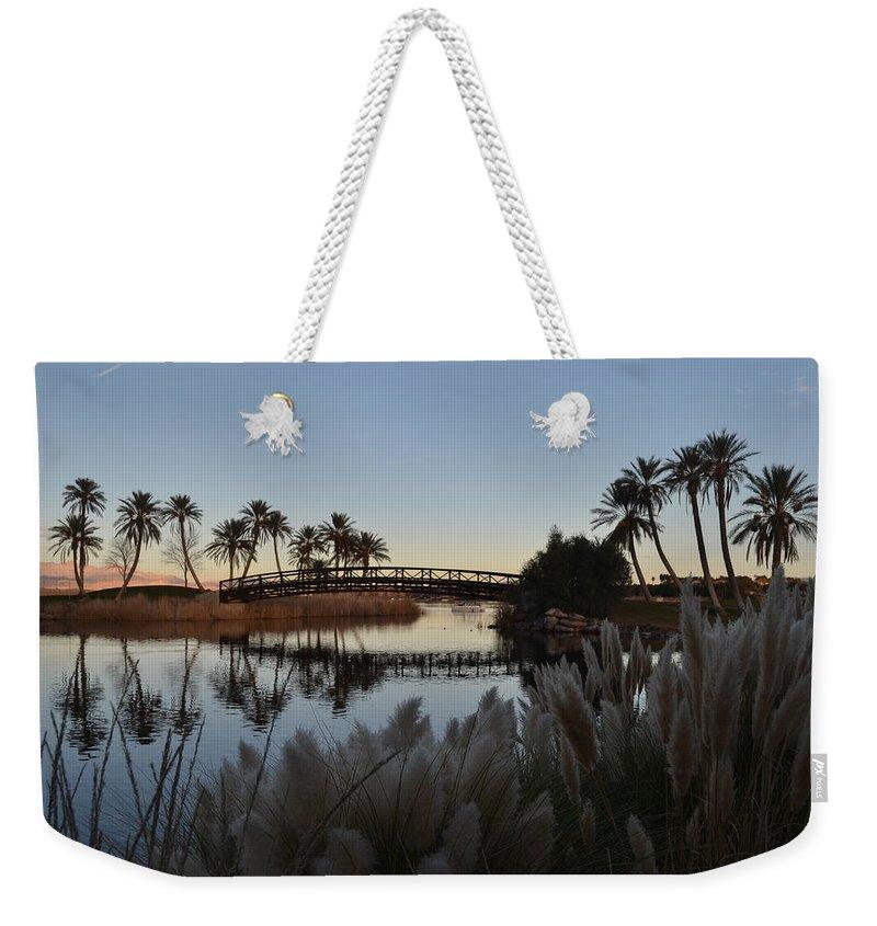 Las Vegas Weekender Tote Bag featuring the photograph Peaceful Las Vegas by Christine Owens