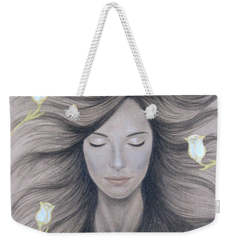Peaceful Weekender Tote Bag featuring the painting Peaceful by Lynet McDonald