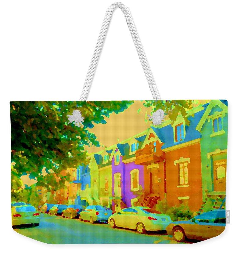 Montreal Weekender Tote Bag featuring the painting Peaceful Painted Pastel Rowhouses Printemps Plateau Montreal Scene Du Rue Carole Spandau by Carole Spandau