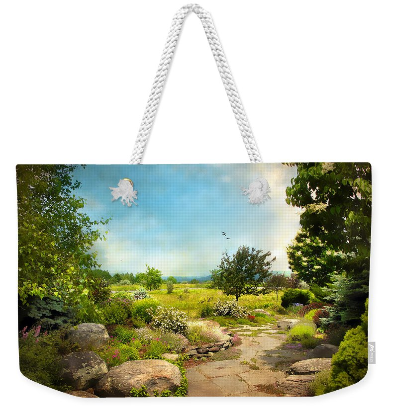 Landscape Weekender Tote Bag featuring the photograph Peaceful Path by Jessica Jenney